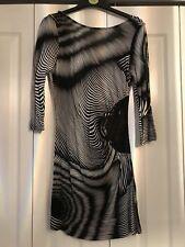 BNWOT Fab Black White Stripe Blur Sequin Tunic Dress Size 6 Fits 8