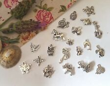 PACK OF 20 ANIMAL CHARMS, TIBETAN SILVER  PENDANTS, MIXED DESIGNS JEWELLERY