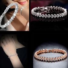 Ladies silver Rose gold crystal cubic zirconia tennis bracelet Wedding Jewelry