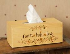 Primitive Tissue Box Cover Holder Primitive Faith Hope Love Berry Vine wit Stars
