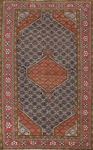Semi-Antique Geometric Traditional Oriental Area Rug Hand-knotted Wool 6x9 ft