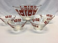 Mid Century Retro Vintage Wheaton Glass Salad Bowl 5 Piece Set