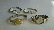 Lot of 4 watches Silvertone & gold tone untested 3 stretch & 1 adjustable