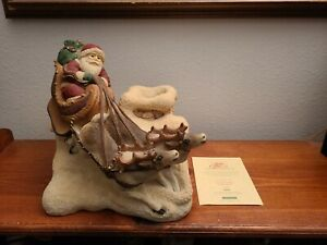 """United Design""""The Legend Of Santa Claus - Up on thd Rooftop"""" Sculpture"""