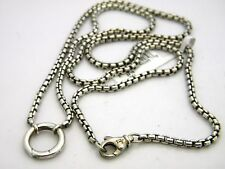 "David Yurman Sterling Silver 24"" Round Charm Box Chain Necklace NWT"