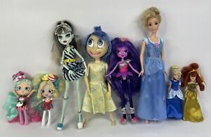 Lot of 8 Dolls - Monster High, Shopkins Shoppies, MLP Equestria & Disney