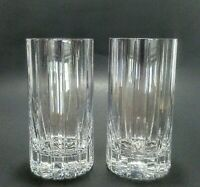 "Cut Crystal Highball Tumblers Beverage Glasses 5 5/8 ""  Tall Set of 2"