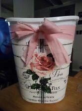 "beautiful shabby pink rose Decorative Trash Can 12"" high Bathroom Laundry Bath"