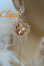 """DRAG QUEEN PEACH CHANDELIER CRYSTAL CLIP ON EARRINGS PAGEANT BRIDAL 5"""" LONG"""