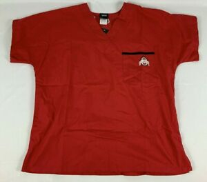 NWT Ohio State Buckeyes Unisex Adult Size Medium Scrub Top Red Embroidered