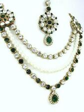 Bollywood KUNDAN Jewellery INDIAN White Pearl Necklace Earring Maang Tikka Stone