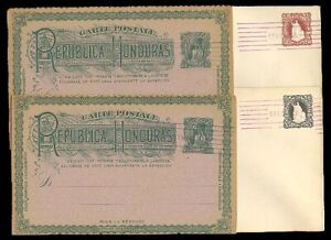 (T0409) HONDURAS - 4x OLD STATIONERY / POSTAL CARDS. PRE-CANCELLED