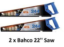 """2 x BAHCO 22"""" 550mm 244 Fixation pour 7TPI Universel Bois Couper Scie Manuelle"""
