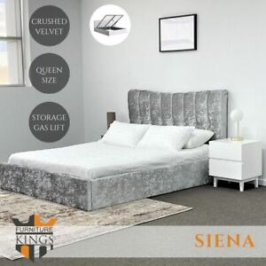 Siena Queen Size Gas Lift Storage Bed Frame Silver Crushed Velvet Fabric Upholst