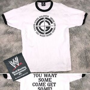Official 2005 WWE John Cena CHAIN GANG Soldier You Want Some? White Ringer Shirt