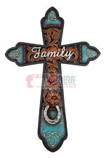 Western Family Wall Cross Floral Turquoise Silver Horseshoe Rhinestones 12x8 in