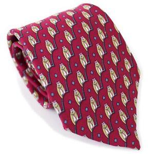 Hermes Paris Maroon Tan Blue Owl Geometric Novelty Print Silk Neck Tie AS-IS