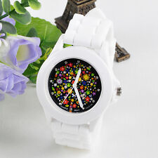 Fashion Silicone Rubber Jelly Gel Quartz Analog Sports Women Wrist Watch Ornate