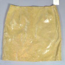 950c4ce9fba Liz Claiborne Women s Suede Skirt Yellow Lizard Print Shiny Knee Length Size  24