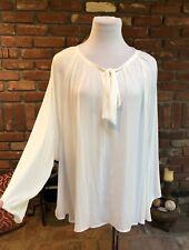 Womanes Vintage Off White Secretary Renn Faire Blouse Tie Neck Shirt Top Large