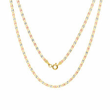 """10K Solid Yellow Rose White Gold 2mm Star Valentino Chain Pendant Necklace 18"""""""