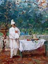 """GIOVANNI PANZA (Italian, 1894-1989) Signed Original Oil Painting - """"Pulcinella"""""""