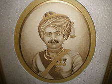 Antique 19thc  Indian Army  Maharajah Hindu Muslim officer portrait Painting