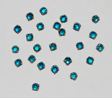 VINTAGE RHINESTONE TINY SEW ON ROSES MONTEES AQUA BLUE GLASS GERMANY 3mm • 12ss