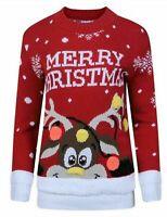 Unisex Merry Christmas Red Jumper Sweater For Men & Women Knitted Retro Jumper