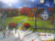 Folk Art Halloween Haunted Moon Ghosts Fall Autumn Trick or Treat Lizzy Rainey