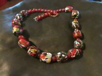 Fab Art Deco Quality Large Venetian End Of Day Bead Necklace