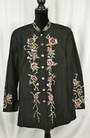Units Women's Button Up Blouse Size XL Silk Blend Embroidered Floral Colorful
