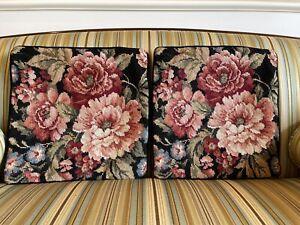 Pair Of Vintage Needlepoint Pillow Covers -  Floral Black Velvet Backs - EUC