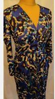 Ingenue/ Onjenu Blue Leopard Abstract Print Dress UK 8 Stretch Gathered Party