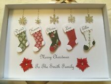 Handmade Personalised Boxed Family Christmas Stocking Card