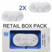 2X BOXED NEW WHITE BLACK CLASSIC CONTROLLER FOR NINTENDO WII CONSOLE + WARRANTY