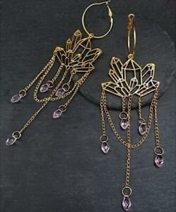 Gothic Quartz Hoop Earrings -Geometric Earrings -Witch Goth Statement Earrings