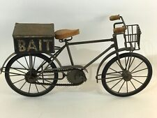 "Decorative Miniature Metal And Wood Bicycle 11"" High w/ Bait Box"