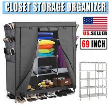 "69"" Portable Closet Wardrobe Clothes Ample Storage Organizer Armoire Us Seller"