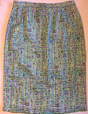 100% PURE SILK Below Knee Length Skirt green blue white women size 12P