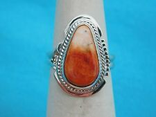NATIVE AMERICAN NAVAJO SPINY OYSTER  RING SIZE 7  STERLING