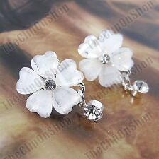 Clip en Facetado Pétalos Flor Retro austríaco Cristal Pendientes de Plata Rhinestone