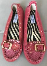 Jimmy Choo Zenith Red Leather Flat Shoes Size 36 UK 3