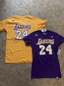 LA Lakers Tshirts #24 Kobe Bryant Purple Yellow Small Medium