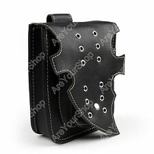 Motorcycle Black Bags Leather Side Tool Bag Pouch Storage Luggage For Harley