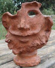 Terracotta Sculpture Art Contemporain Masque Terre Cuite Signé et daté