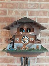 New ListingSwiss animated musical Chalet Cuckoo clock. Water wheel dancers. 2 tunes