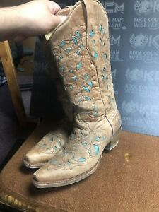 Corral BOOTS SIZE 7.5M Brown / Turquoise Leather Inlay Cowboy WESTERN BOOTS