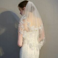 Two Tier Lace Veil with Metallic Embroidery Mid Wedding Veil with Lace Details