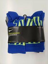 NEW Kids Nike Crew Performance Cushion Socks, Youth 3Y-5Y, 6 Pack, Blue/Grey
